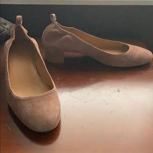 J. Crew beige chunky kitten heel dress shoes